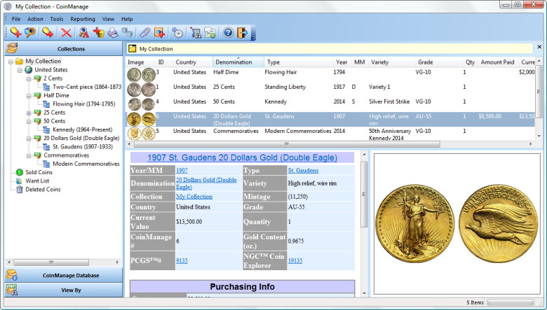 CoinManage 2015 Coin Software Main Window