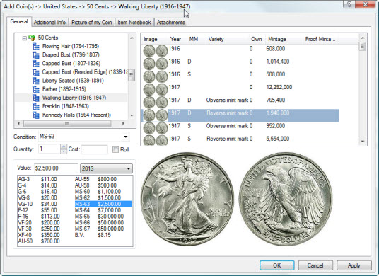 Add a Walking Liberty Half Dollar to your coin collection inventory