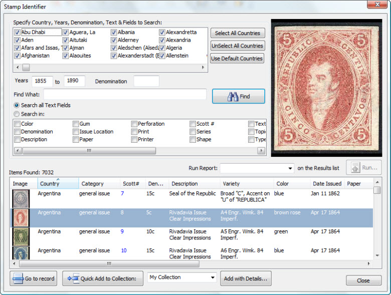 World Stamp Identifier used by StampManage Philatelic Software